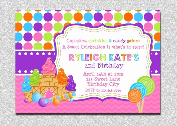 Free Candyland Invitation Template Fresh Candyland Birthday Invitation Sweet Shoppe Candyland Birthday