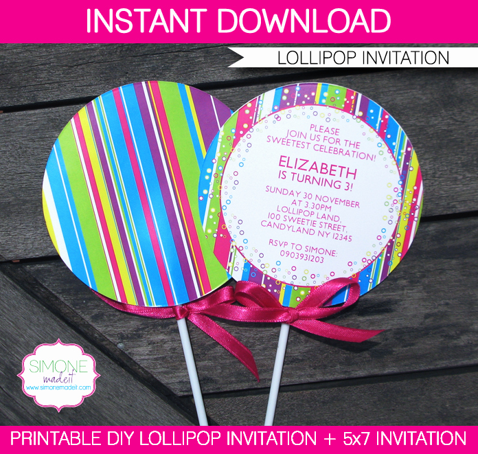 Free Candyland Invitation Template Fresh Lollipop Invitation New In My Candyland Printable Collection