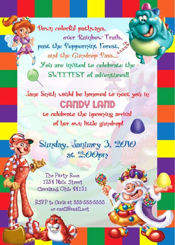 Free Candyland Invitation Template Lovely 15 Best Ideas About Candy Invitations On Pinterest