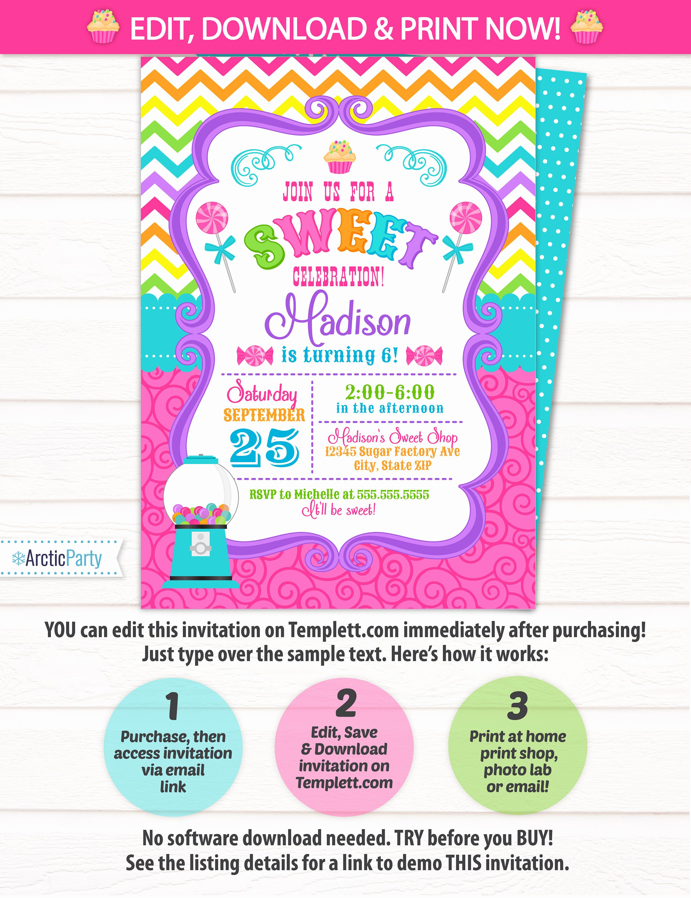 Free Candyland Invitation Template Luxury Candyland Invitations Candy Land Birthday Invitation Candy