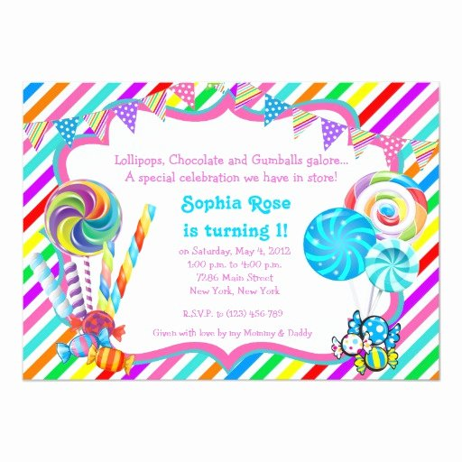 Free Candyland Invitation Template New Candyland Candy theme Birthday Invitation