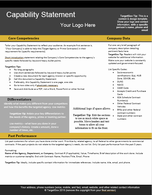 Free Capability Statement Template Word Elegant Capability Statement Editable Template Tar Gov