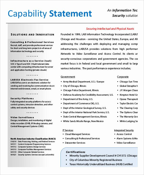 Free Capability Statement Template Word Inspirational 12 Capability Statement Template Word Pdf Google Docs Apple Pages