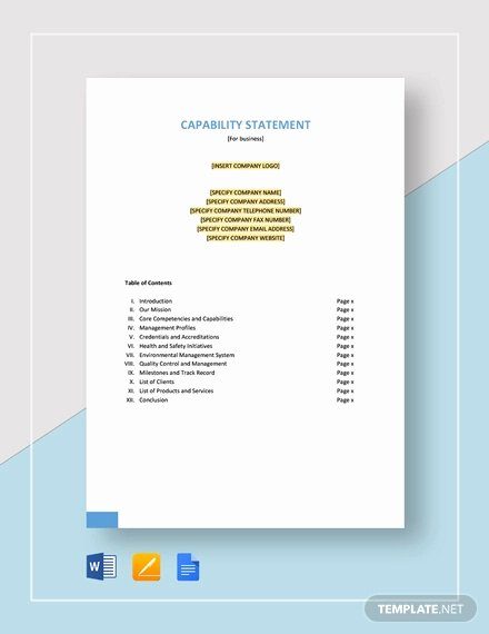 Free Capability Statement Template Word Luxury 12 Capability Statement Template Word Pdf Google Docs Apple Pages