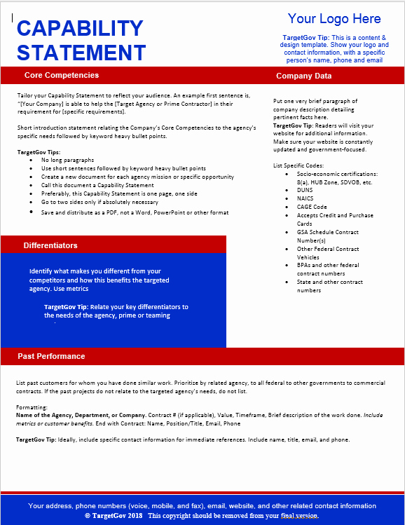 Free Capability Statement Template Word New Tar Gov Capability Statement Editable Template Tar Gov