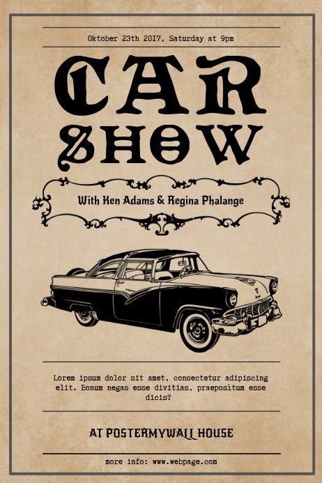 Free Car Show Flyer Template Beautiful Vintage Car Show Flyer Template