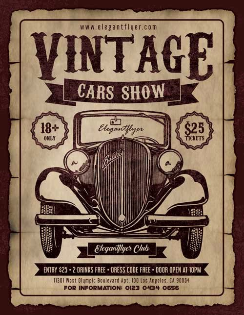 Free Car Show Flyer Template Beautiful Vintage Cars Show Free Party Flyer Template