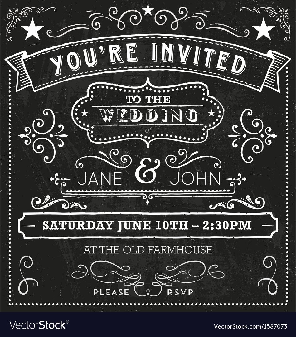 Free Chalkboard Invitation Templates Awesome Wedding Chalkboard Invitation Elements Royalty Free Vector