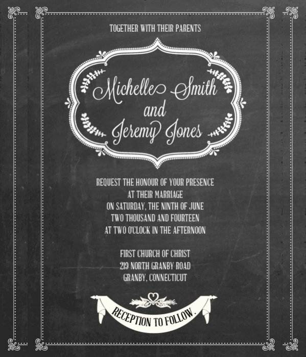Free Chalkboard Invitation Templates Beautiful 35 Free Elegant Wedding Invitations Psd Word Ai Eps