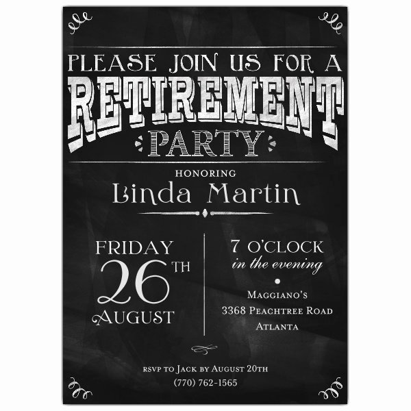 Free Chalkboard Invitation Templates Fresh Chalkboard Black Retirement Party Invitations