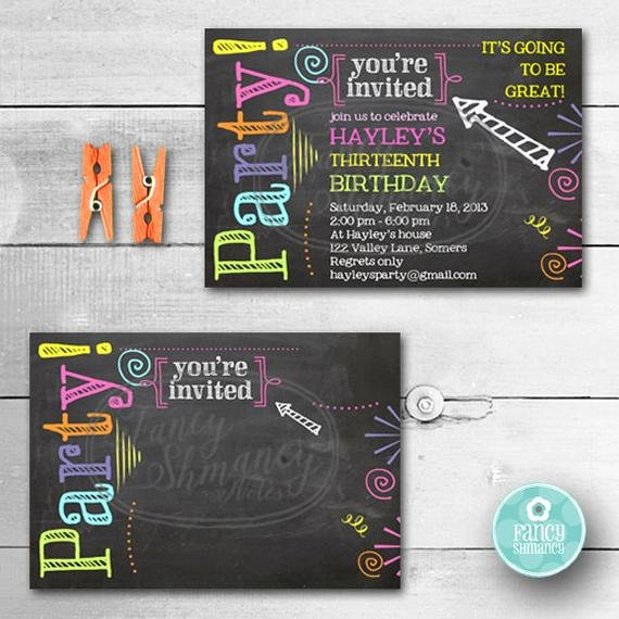 Free Chalkboard Invitation Templates Inspirational Birthday Invitation Chalkboard Invitation Neon Colors