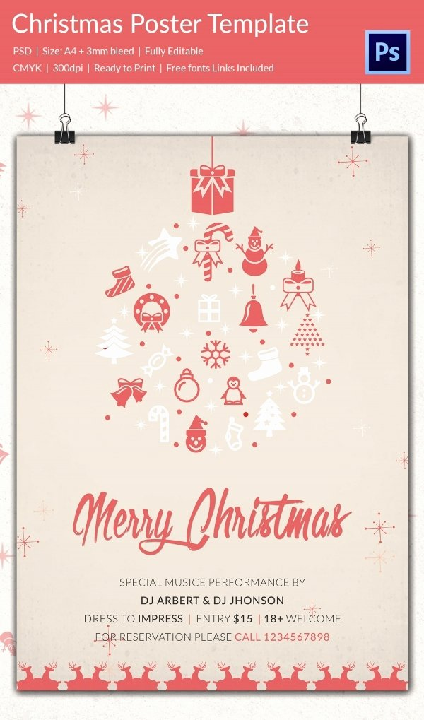 Free Christmas Poster Template Beautiful 74 Christmas Poster Templates Free Psd Eps Png Ai Vector format Download