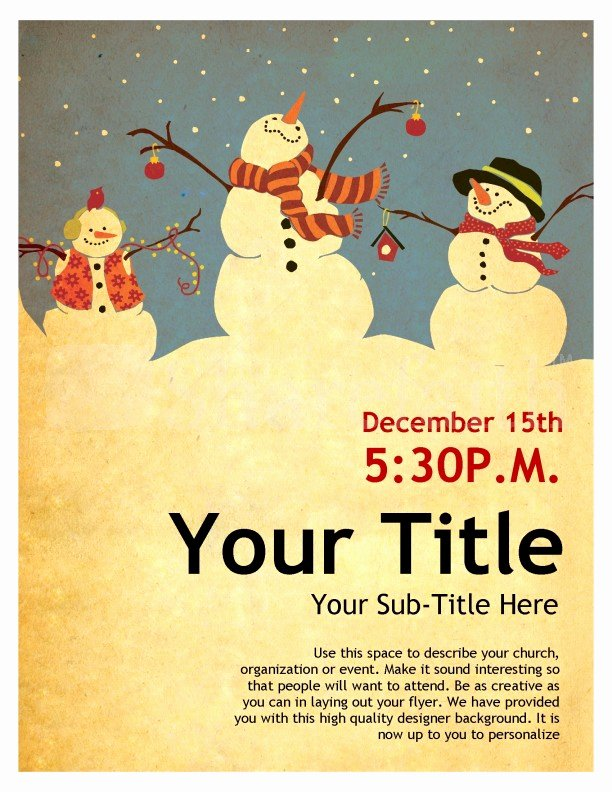 Free Christmas Poster Template Elegant Snowman Christmas Flyer