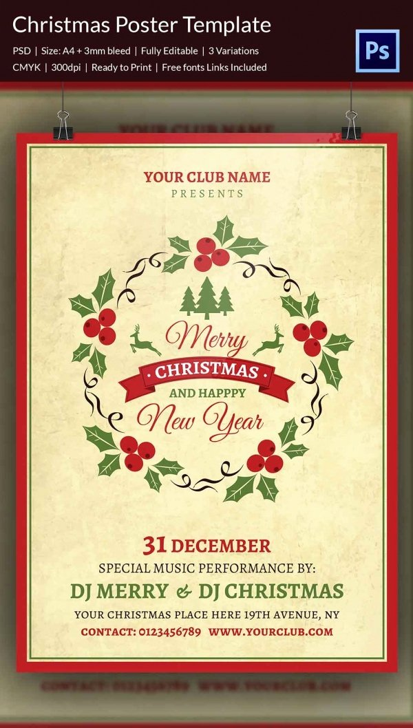 Free Christmas Poster Template New 22 Christmas Posters Psd format Download