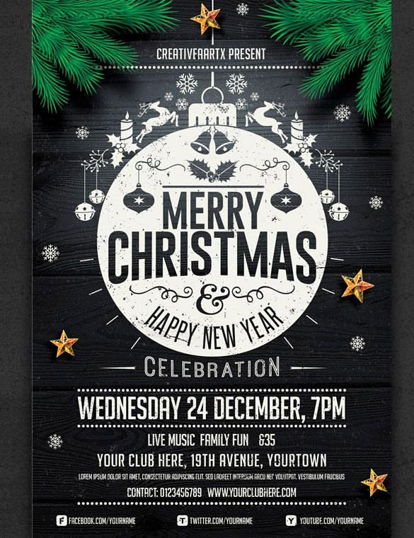 Free Christmas Poster Template New 57 Christmas Flyer Templates – Free Psd Ai Illustrator Doc format Download