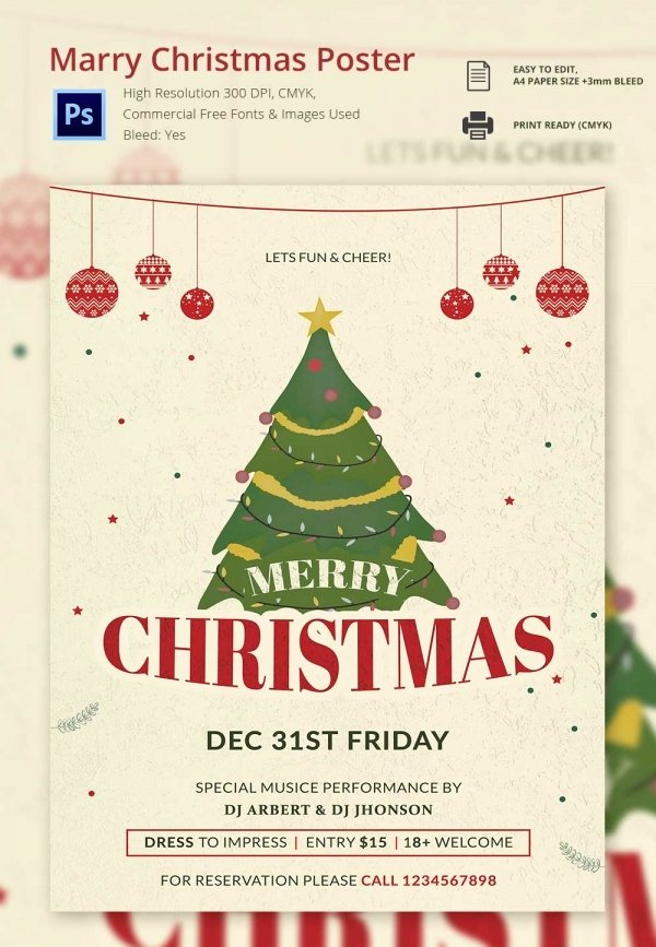 Free Christmas Poster Template New 74 Christmas Poster Templates Free Psd Eps Png Ai Vector format Download