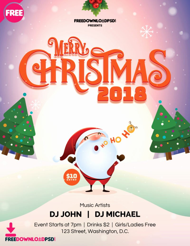 Free Christmas Poster Template New [free] Merry Christmas Flyer 2018