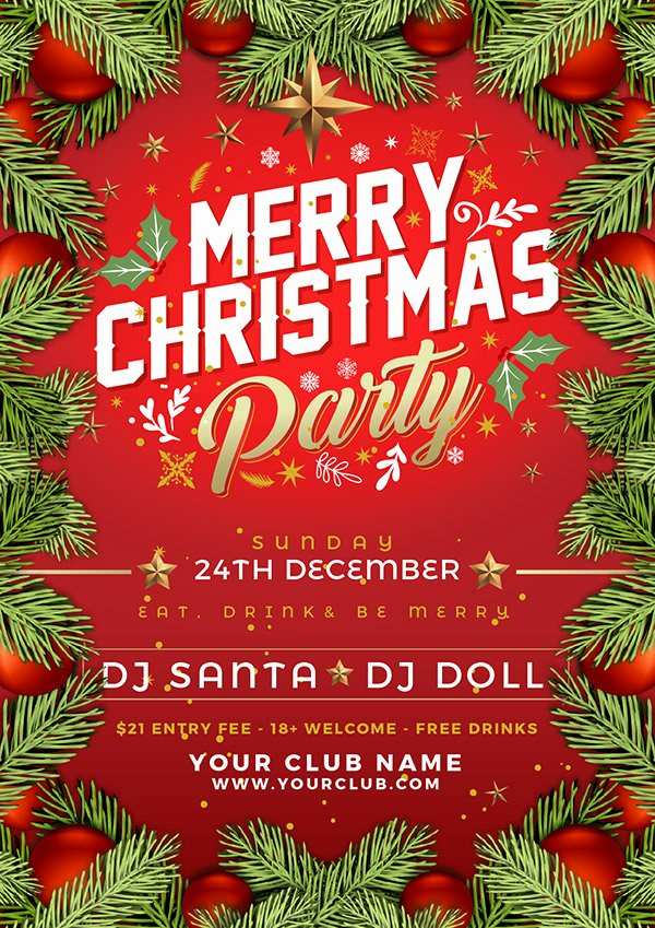 Free Christmas Poster Template Unique Free Christmas Party Flyer Poster Design Template 2017 In Ai format