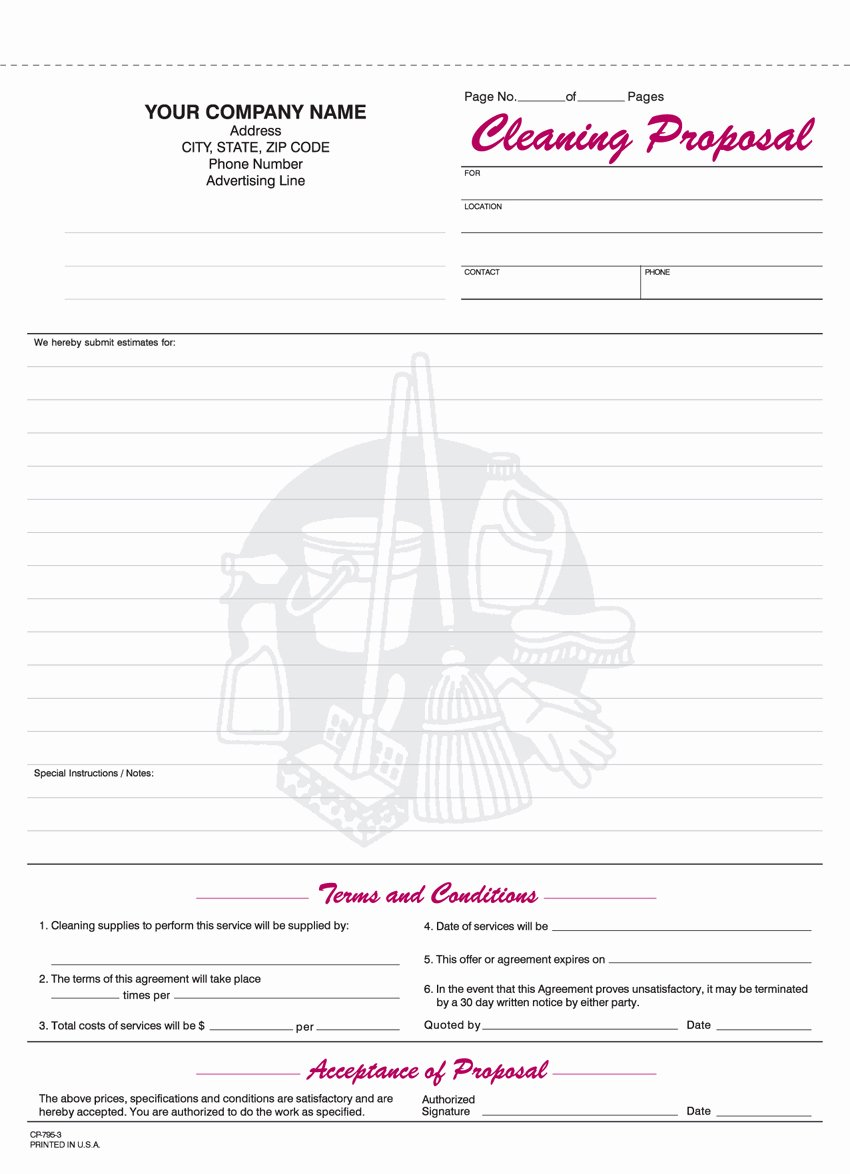 Free Cleaning Proposal Template Best Of 9 Best Of Free Printable Cleaning Business forms Cleaning Bid Proposal Template