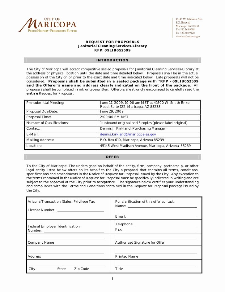 Free Cleaning Proposal Template Fresh Request for Proposals Janitorial Cleaning Services Library Rfp