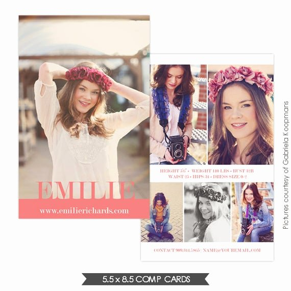 Free Comp Card Template Luxury Instant Download Modeling P Card Shop Templates