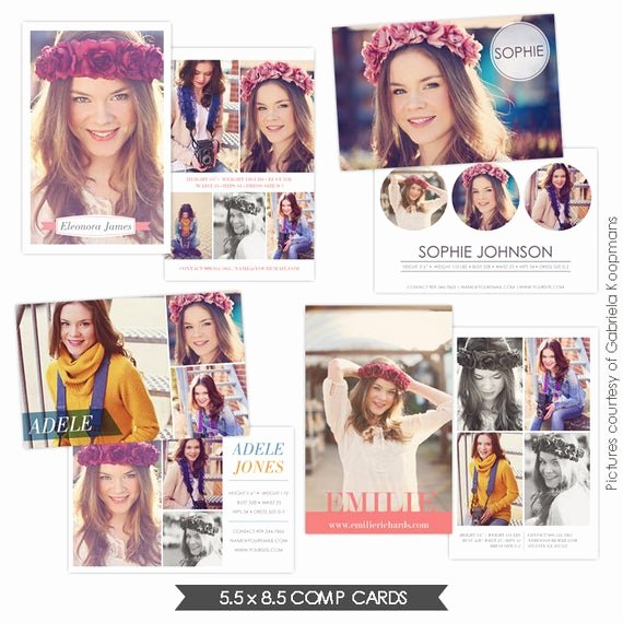 Free Comp Card Template Photoshop Beautiful Instant Download Modeling P Cards Shop Templates