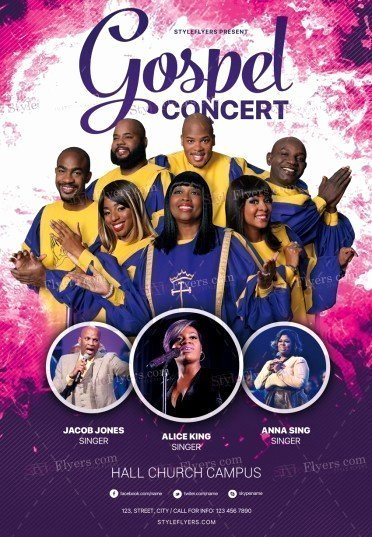 Free Concert Flyer Template Unique Gospel Concert Psd Flyer Template Styleflyers