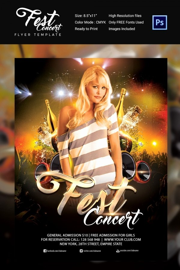 Free Concert Poster Template Awesome Concert Flyer Template 48 Psd format Download