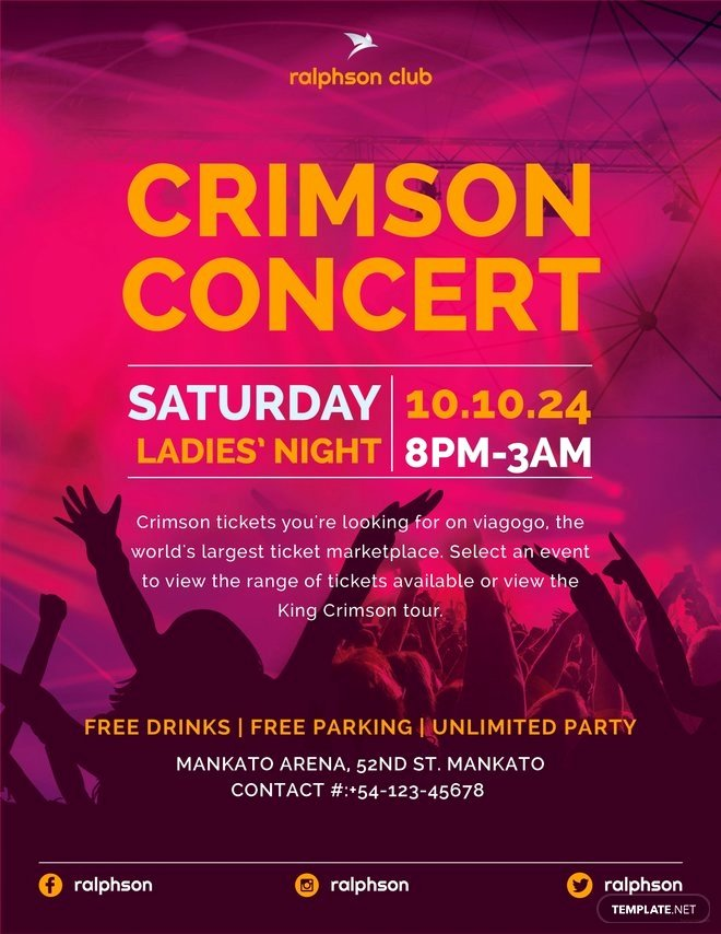 Free Concert Poster Template Awesome Free Crimson Concert Flyer Template In Adobe Illustrator Shop