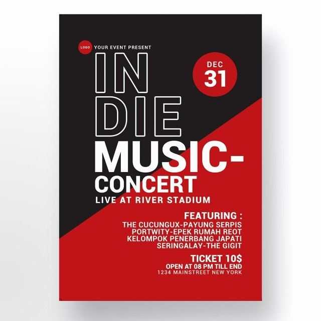Free Concert Poster Template Awesome In Music Concert Poster Template for Free Download On Tree