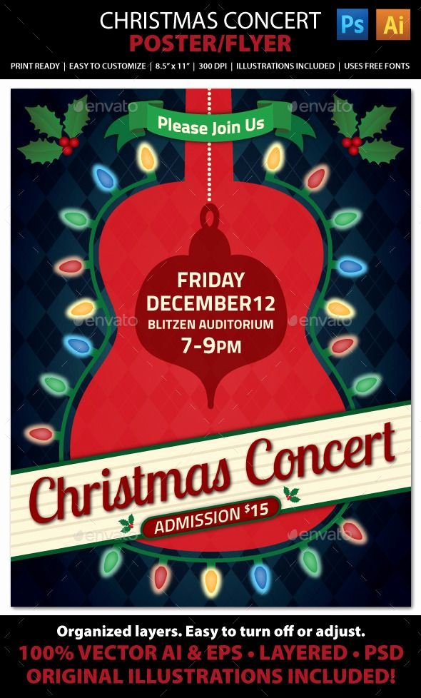Free Concert Poster Template Luxury Christmas Concert Music event Flyer or Poster