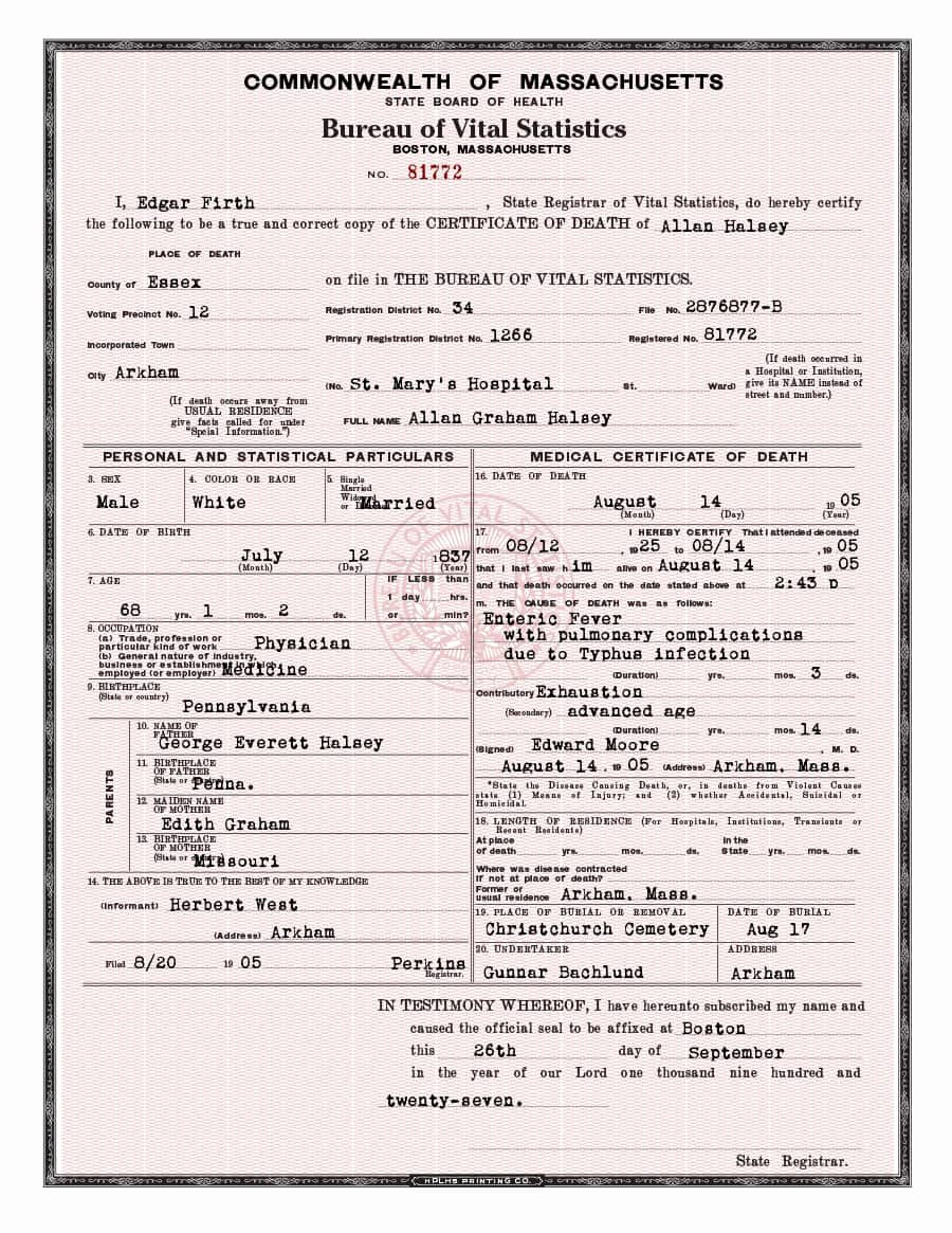 Free Death Certificate Template Beautiful 37 Blank Death Certificate Templates [ Free] Template Lab