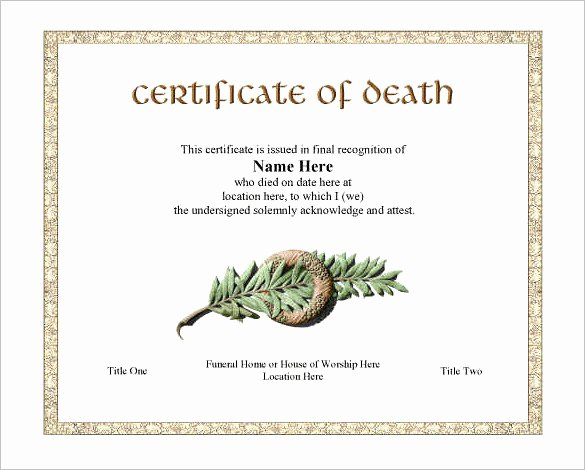 Free Death Certificate Template Best Of 7 Death Certificate Templates Psd Ai Illustrator Word