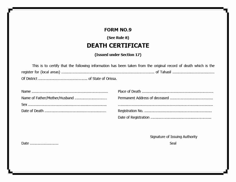 Free Death Certificate Template Lovely 37 Blank Death Certificate Templates [ Free] Template Lab