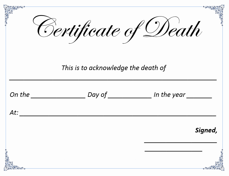 Free Death Certificate Template Luxury Death Certificate Template Anatomy