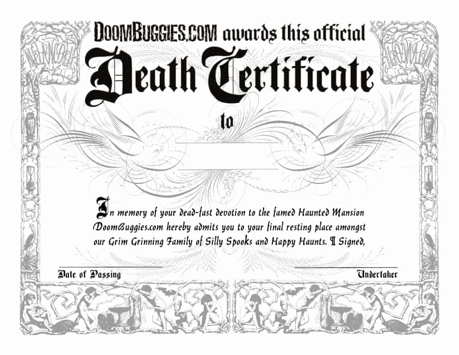 Free Death Certificate Template New 37 Blank Death Certificate Templates [ Free] Template Lab