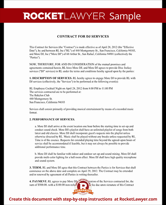 Free Dj Contract Template Best Of Dj Contract Template Dj Agreement with Sample