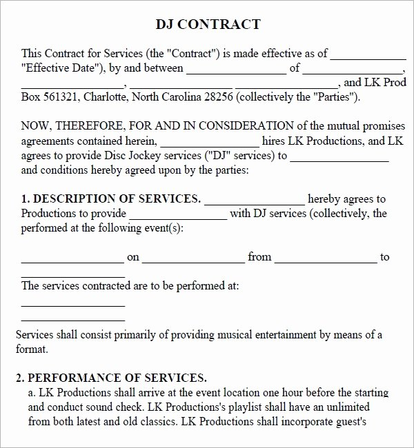 Free Dj Contract Template Elegant Free 20 Sample Best Dj Contract Templates In Google Docs Ms Word Pages