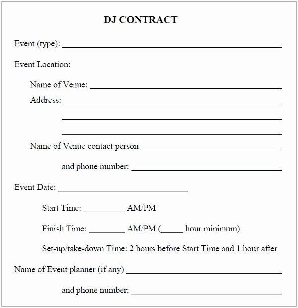 Free Dj Contract Template Inspirational Dj Contract