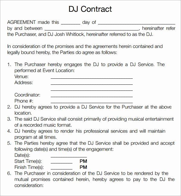 Free Dj Contract Template Inspirational Free 20 Sample Best Dj Contract Templates In Google Docs Ms Word Pages