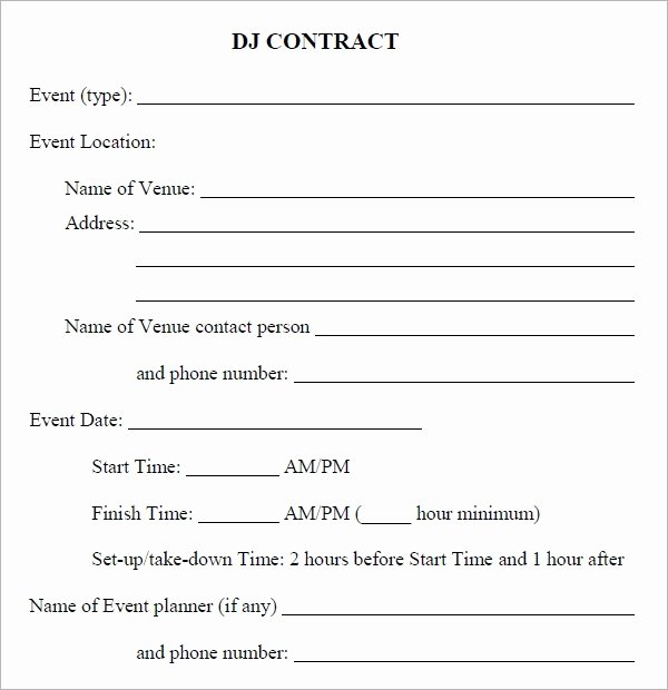 Free Dj Contract Template Lovely Free 20 Sample Best Dj Contract Templates In Google Docs Ms Word Pages