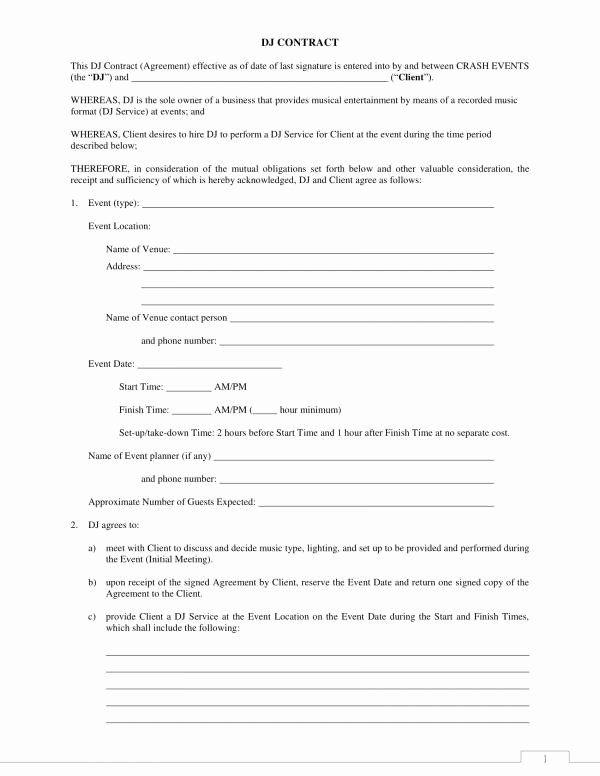 Free Dj Contract Template Luxury 12 Dj Service Contract Template Pdf Word