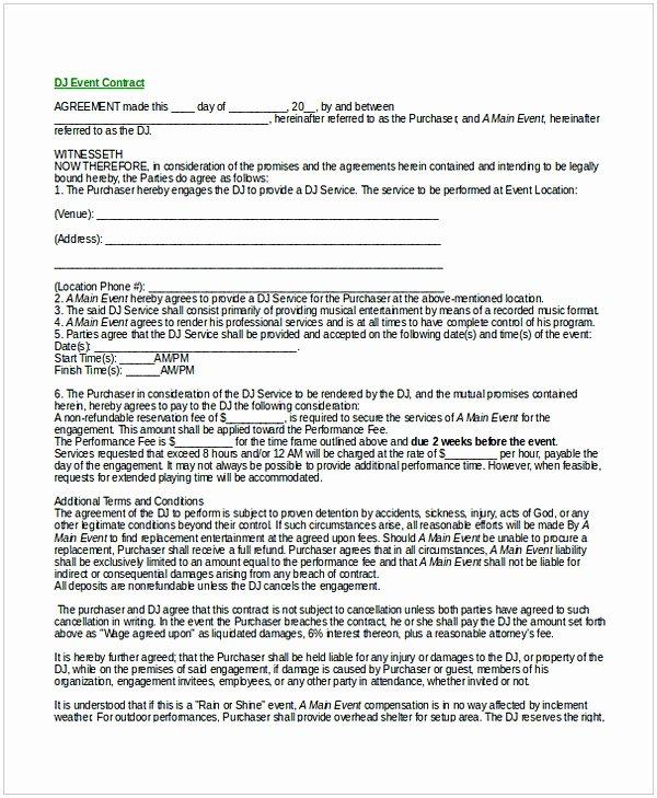 Free Dj Contract Template New Dj Contract Template