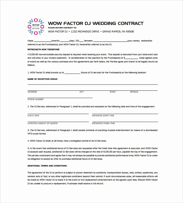 Free Dj Contract Template Unique Free 20 Sample Best Dj Contract Templates In Google Docs Ms Word Pages