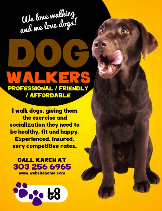 Free Dog Walking Flyer Template Awesome Dog Walkers Flyer Template