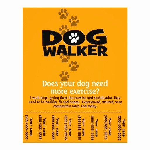 Free Dog Walking Flyer Template Beautiful Dog Walking Business Tear Sheet Flyer Template