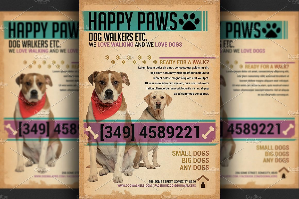 Free Dog Walking Flyer Template Elegant Dog Walkers Flyer Template Flyer Templates Creative Market