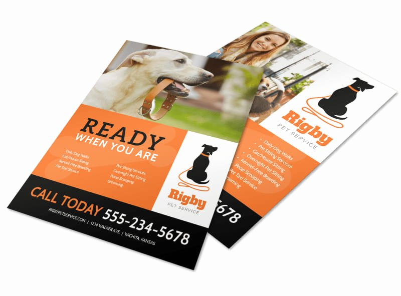 Free Dog Walking Flyer Template Elegant Ready when You are Dog Walking Flyer Template