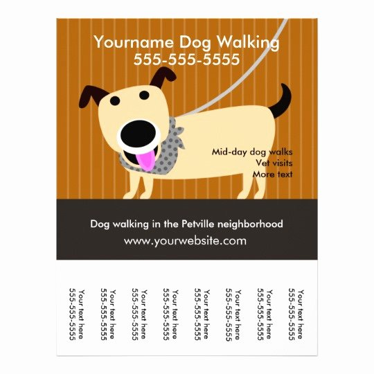 Free Dog Walking Flyer Template Luxury Dog Walker S Flyer with Tear Off Tags