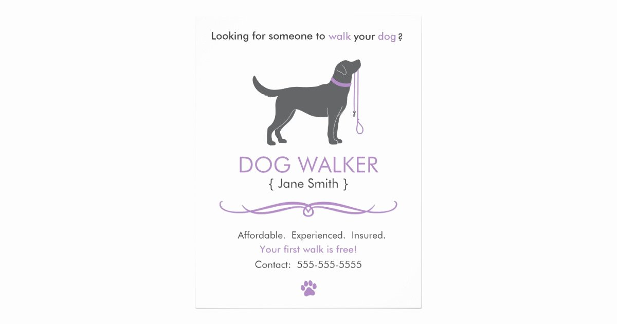 Free Dog Walking Flyer Template New Dog Walker Walking Business Flyer Template